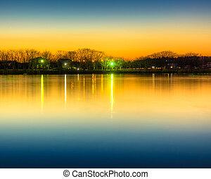 池塘, 日落, 反映, 发光