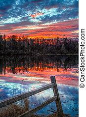 池塘, 日落, 栅栏