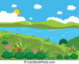 池, そして, 背景, 風景