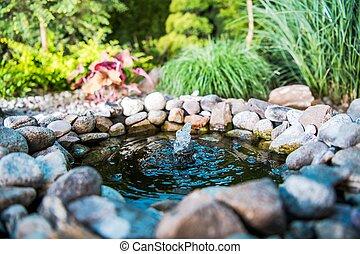 池, わずかしか, 場所, 庭