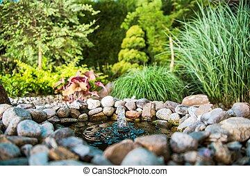 池, わずかしか, 庭