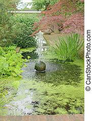 池, スタイル, 噴水, 日本語