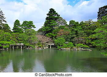 池, スタイル, 日本の庭