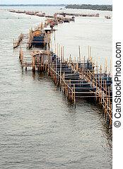 池, 入口, 漁場, river., 水産養殖