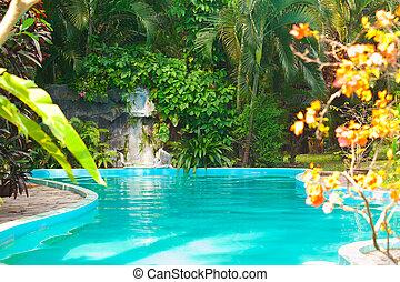 池, 在, 旅館, -, 假期, 背景