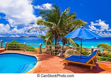 池, 在, 熱帶的海灘