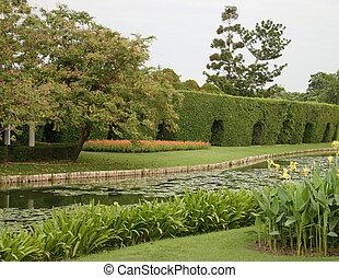 池, 屋外, 庭, 風景