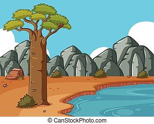 池, 山, 岩が多い, 現場