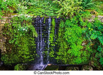 池, 建築, 自然, 滝, 美しい, 終り, 背景, 庭