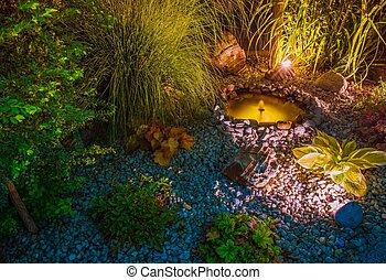 池, 照らされた, 庭