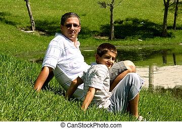 池, 父, 弛緩, 息子