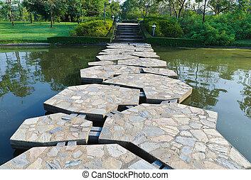 池, 石, 横切って, 道