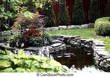 池, 石, 花園, 赤