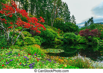 池, 花, 反映された, 木