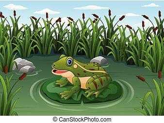 池, 葉, 漫画, カエル