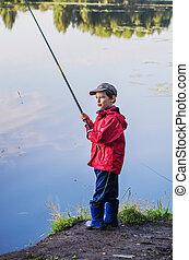 池, 釣り, 夏