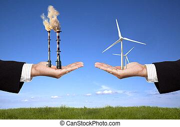 污染, 同时,, 清洁能量, concept., 商人, 握住, 风车, 同时,, 精炼厂, 带, 空气污染