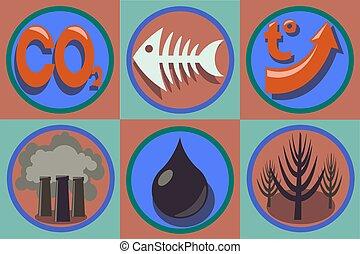 污染, set., 全球, 问题, warming., 生态, 世界, 图标
