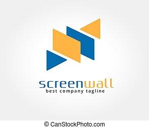 決め付けること, スクリーン, logotype, 抽象的, ベクトル, テンプレート, ロゴ, concept., アイコン