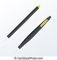 決め付けること, set., ペン, 現実的, stationery., ベクトル, 黒, 企業イメージの統一戦略