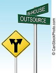 決定, 供給, outsourcing, ビジネス, サイン