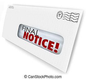 決賽, 通知, 信封, 帳單, 發票, 過去适當, 支付, 現在