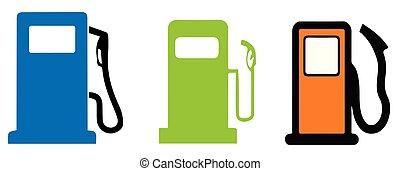 汽油, 白的背景, 图标