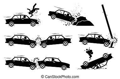 汽車事故, 以及, crash.