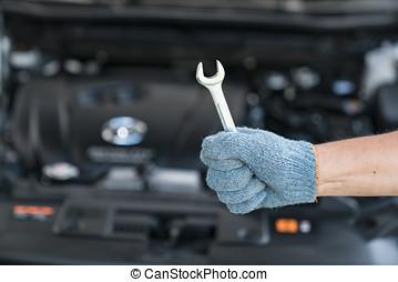 汽車技工, 工作, 在, garage., 修理, service.