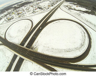 汽車高速公路, 接合, 圓, 空中的觀點