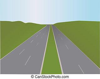 汽車高速公路, -, 矢量, 插圖