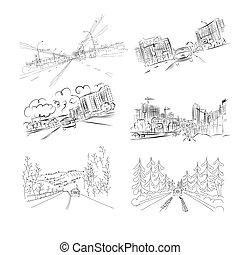 汽車, 上, 城市道路, 集合, ......的, 手, 畫, 說明, 為, 你, 設計