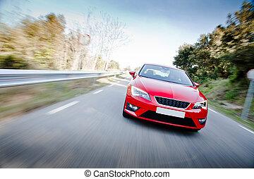 汽車, 上, a, 路, 充分, ......的, 危險, 彎曲