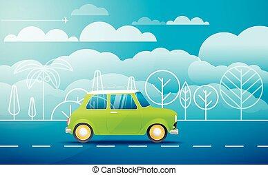 汽車, 上, the, 方式, 矢量, 插圖