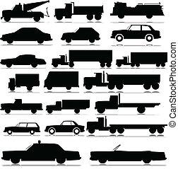 汽車, 以及, 卡車, 矢量, 黑色半面畫像