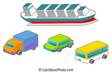 汽車, 以及, 船