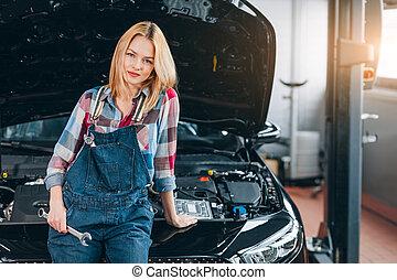 汽車, 你, 准備好, 女性, 有才能, 給, 修理, 手, 技工