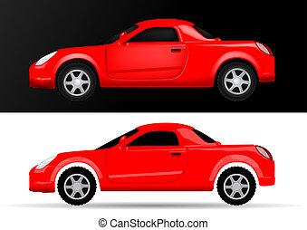 汽車, 側視圖, -, 插圖