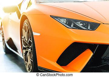 汽車, 前面, 傍晚, 豪華, 橙, 運動
