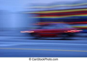 汽車, 加速, 在, the, 黃昏, 被模糊不清運動