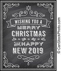 汽車, 問候, 矢量, 2019, 黑板, 年, 新, 聖誕節, 愉快