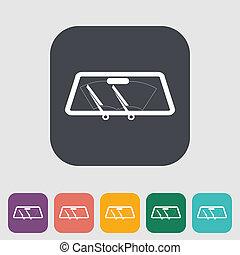 汽車, 單個, 接触刷, icon.