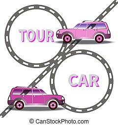汽車, 圖像, 二, 矢量, 背景, 高速公路