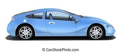 汽車, -, 左, 運動, 側視圖