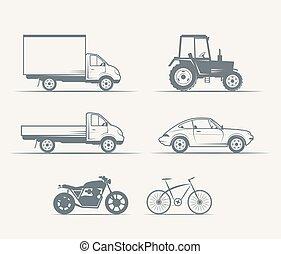 汽車, 摩托車, 自行車, 在, 葡萄酒, 風格