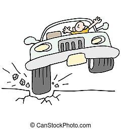汽車, 擊中, a, 罐, hole.