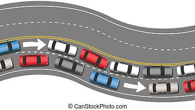 汽車, 旅行, 交通, 去, 一, 方向