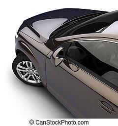汽車, 由于, a, 黑暗, 兩顏色, 畫, 在, the, 工作室