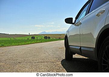 汽車, 白色, 斯洛伐克, 路, 國家