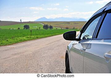 汽車, 白色, 路, 國家